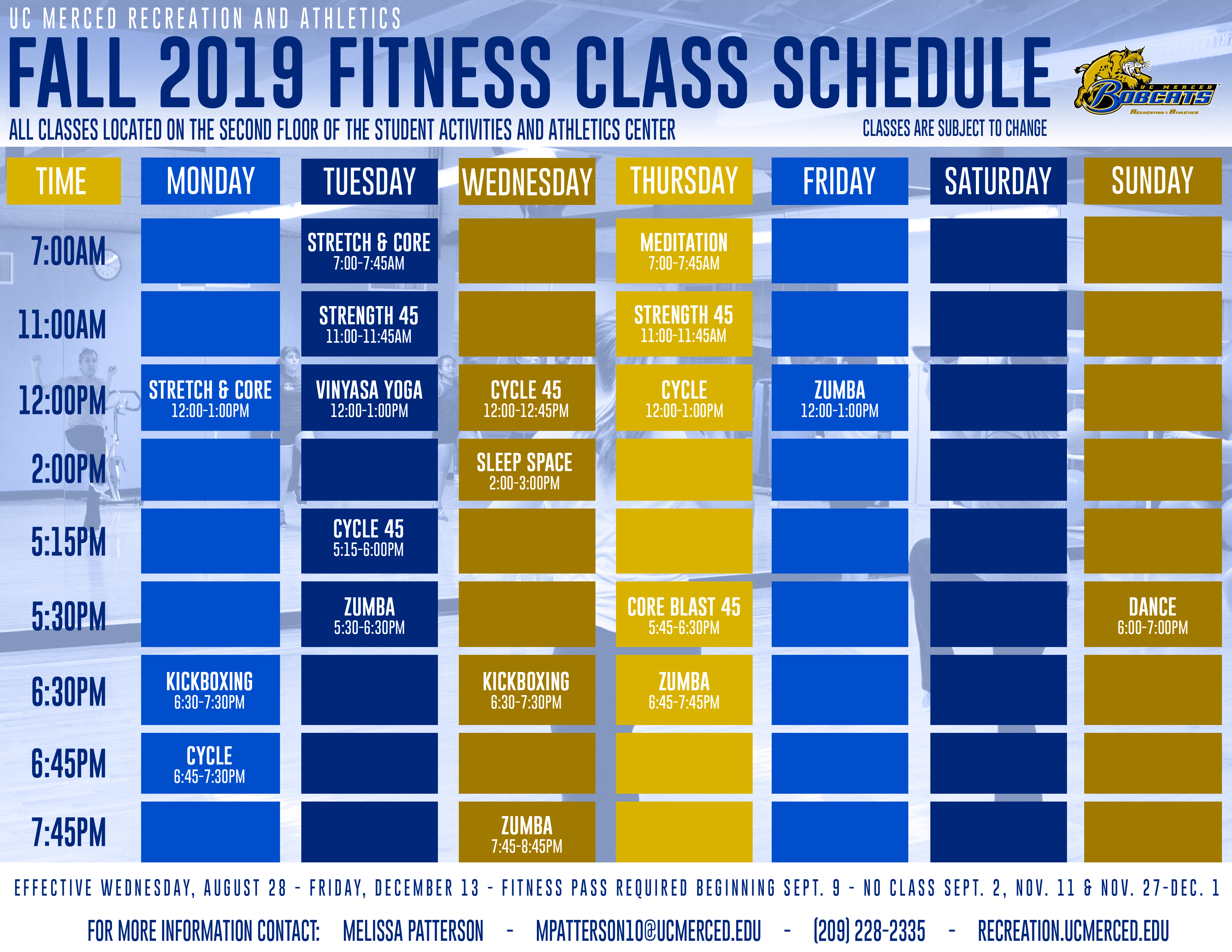Group Fitness Schedule | Recreation & Athletics